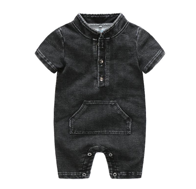 Ragazzo del bambino vestiti del bambino dei ragazzi del denim pagliaccetti solido Infant colori delle tute bicchierino del manicotto vestiti rampicanti estate vestiti del bambino DHW3229