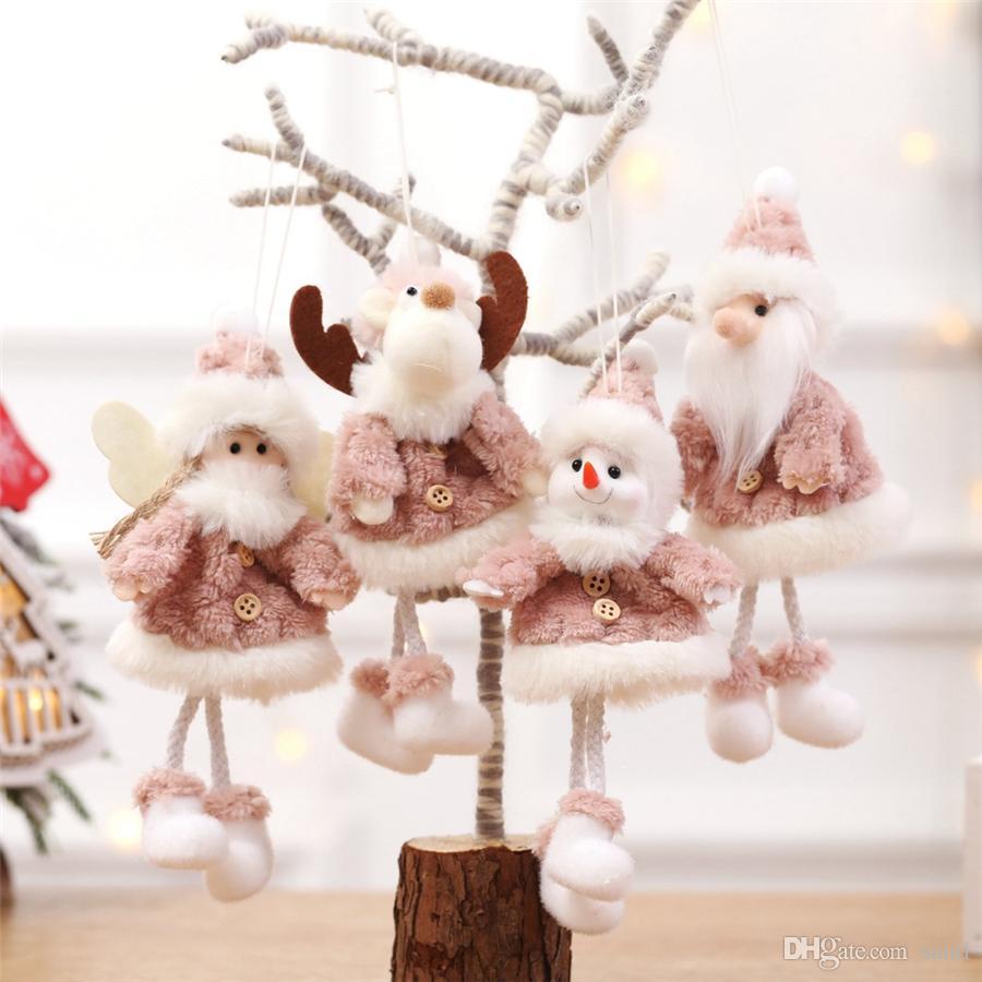 Новый год Рождество висячего Кулона Сант-Клаус Xmas Tree приукрашивания Ангел игрушка падение украшение украшение Elk Плюшевые куклы JK1910