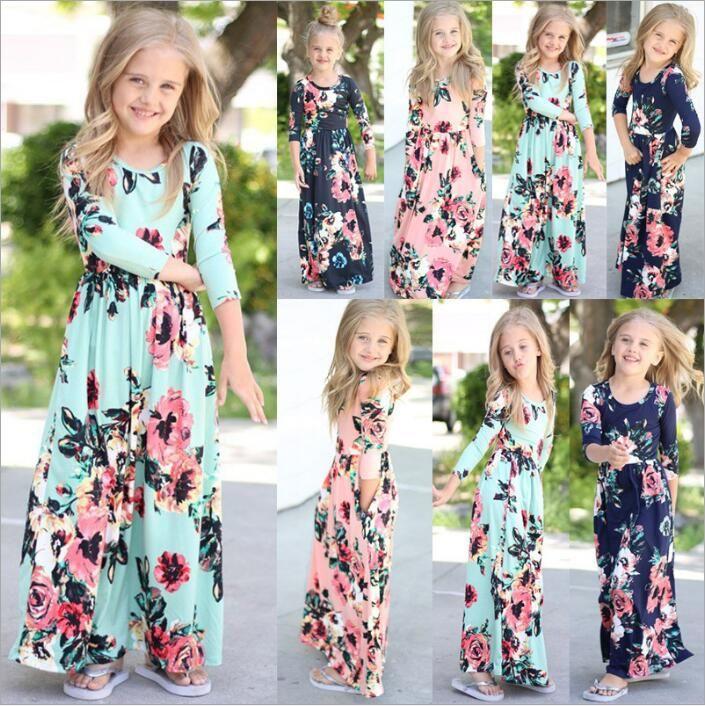Bébé Vêtements Enfant Filles Floral Maxi Robes Robe De Plage De Bohème Coloré Rayé Fleurs Imprimé Robes Casual Robe De Fête Princesse B4983