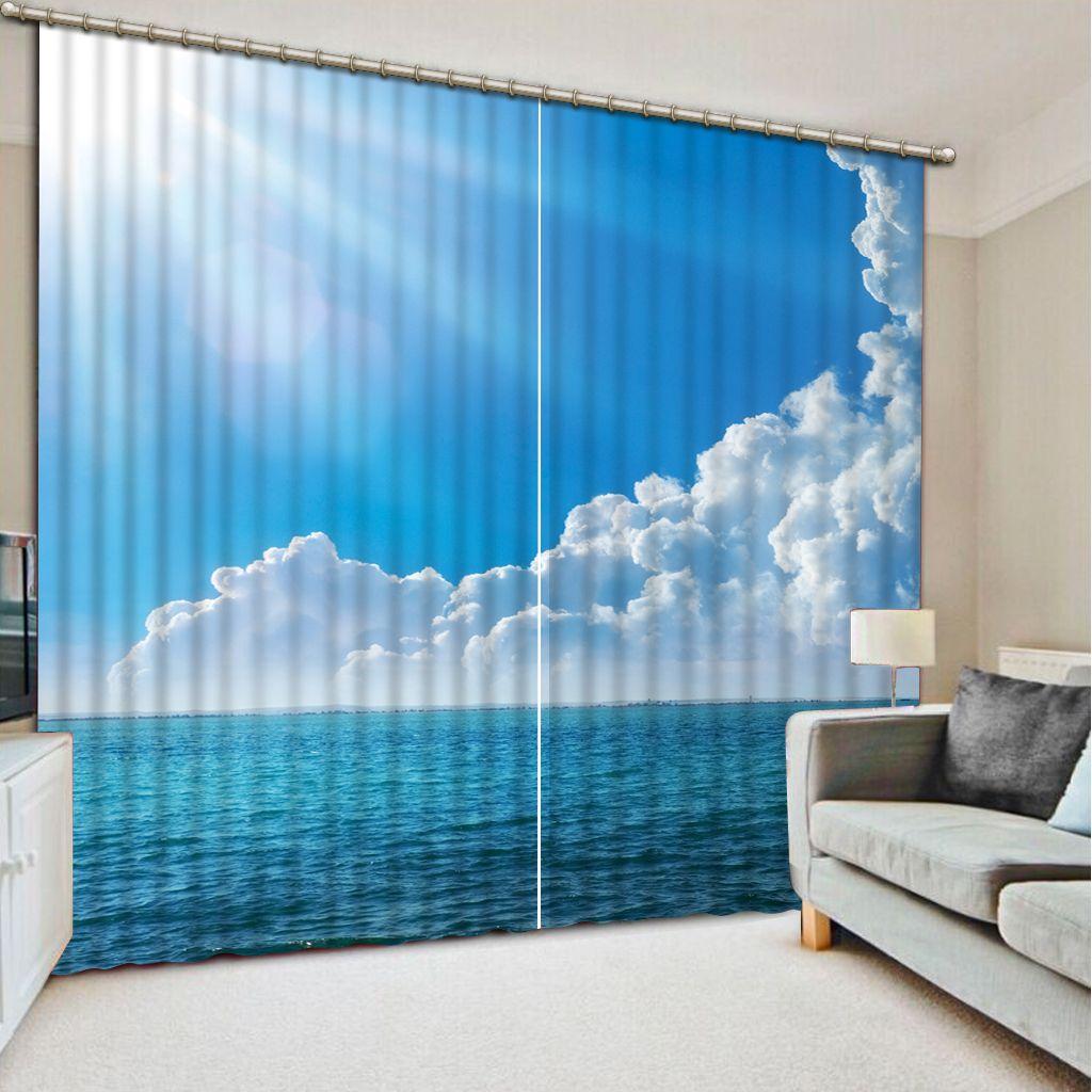Mavi gökyüzü ve beyaz bulutlar ile perdeler Lüks Karartma 3D Pencere Perde Oturma Odası Yatak Odası Perdeler Cortina Özelleştirilmiş boyutu