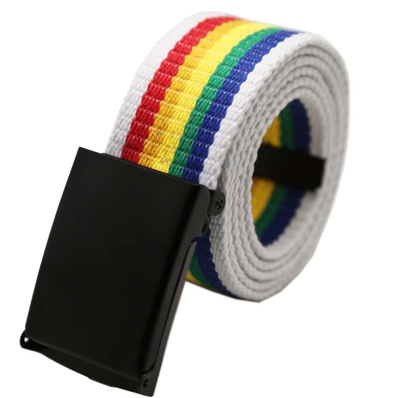 La vendita calda nuova moda Rainbow Colors squisito cintura per le donne Lady tela piuttosto sottile Cintura sottile Abito Accessori #F
