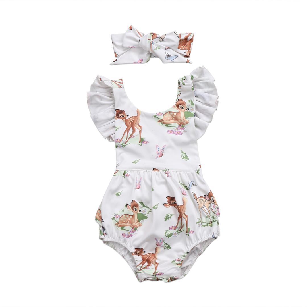 0-18M Kleinkind-Säuglingsbaby-Bambi Deer Fliege Ärmel Netter Bodysuit-Overall sunsuit Kleidung