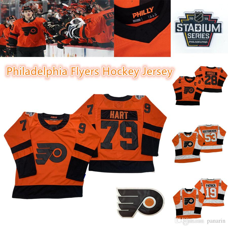 Filadélfia Flyers Hóquei 28 Claude Giroux 79 Carter Hart 53 Gostisbeia 93 Voracek 11 Konecny 9 Provoradoov Gelo Hóquei Jerseys
