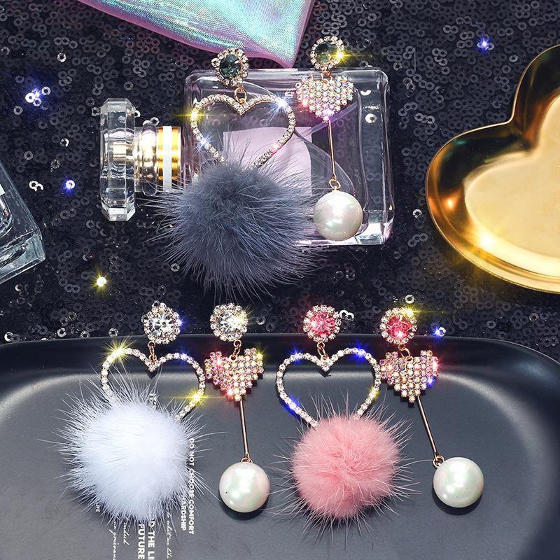 Corea del cristallo amore nuova moda gioielli di design imitazione criniera orecchini asimmetrici autunno regali di Natale modelli inverno delle donne