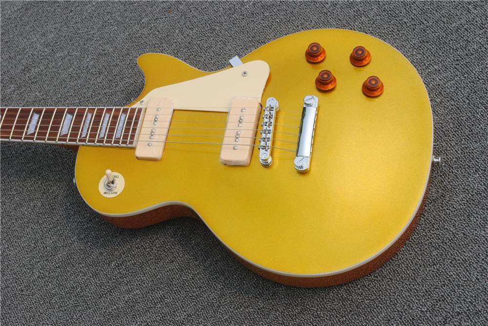 مخصص للتسوق 1956 التاريخية Goldtop الكتريك جيتار الذهب أعلى المزدوجة الخاصة P90 بيك اب، المصدرة الغيتار الأجهزة الساخن بيع