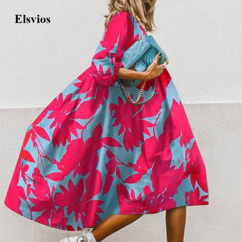Летний цветочный Леопардовый Половина рукава платья женщин вскользь O шеи Сыпучие A-Line платье ретро Элегантная женщина платье партии Vestidos Y200623