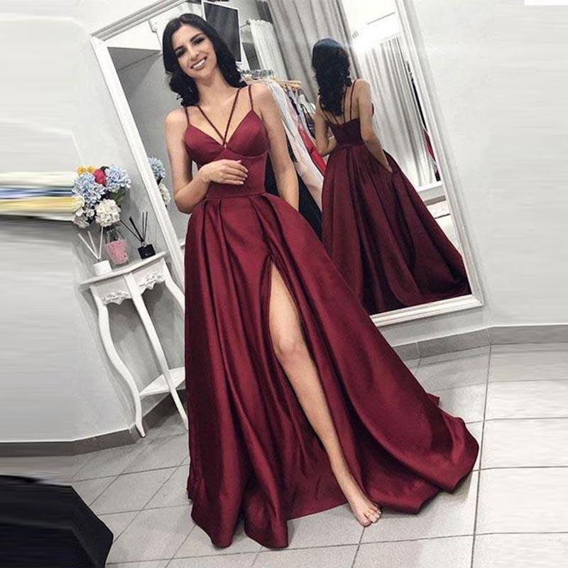 2019 Sexy Strap Evening Dress Long Side Split Prom Dress Satin Customize Party Gowns Evening Gowns Robe De Soiree