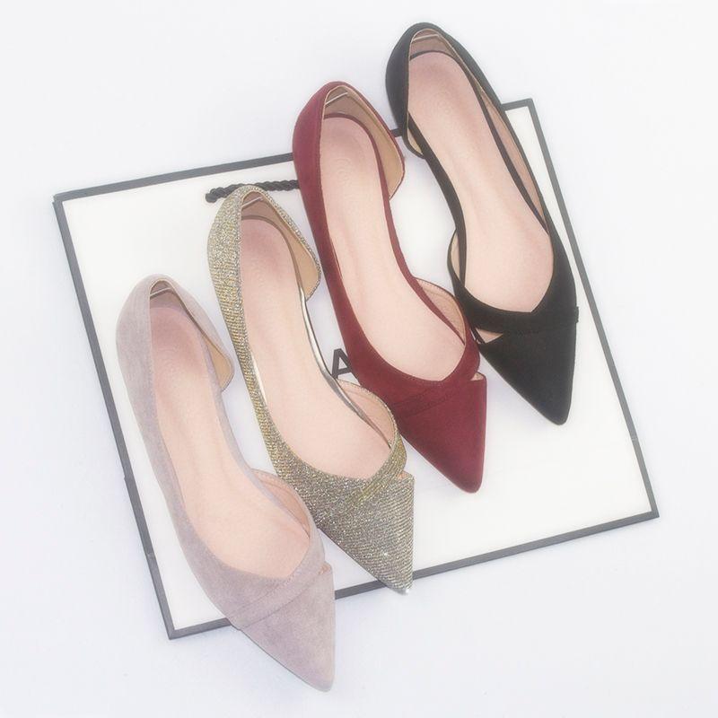 OL 신발 여자 컷아웃 얕은 입 발레 아파트 뾰족한 우아한 작업 여성 신발에 발레리나발 빅 size43NS25