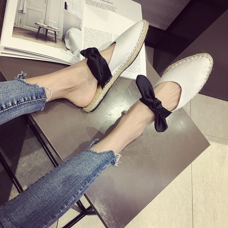 Pretty2019 Flat Sharp Bottom Sandalen Baotou Bow Semi Trailer Kleidung Stroh geflochtene Artikel Slipper Frau Sommer