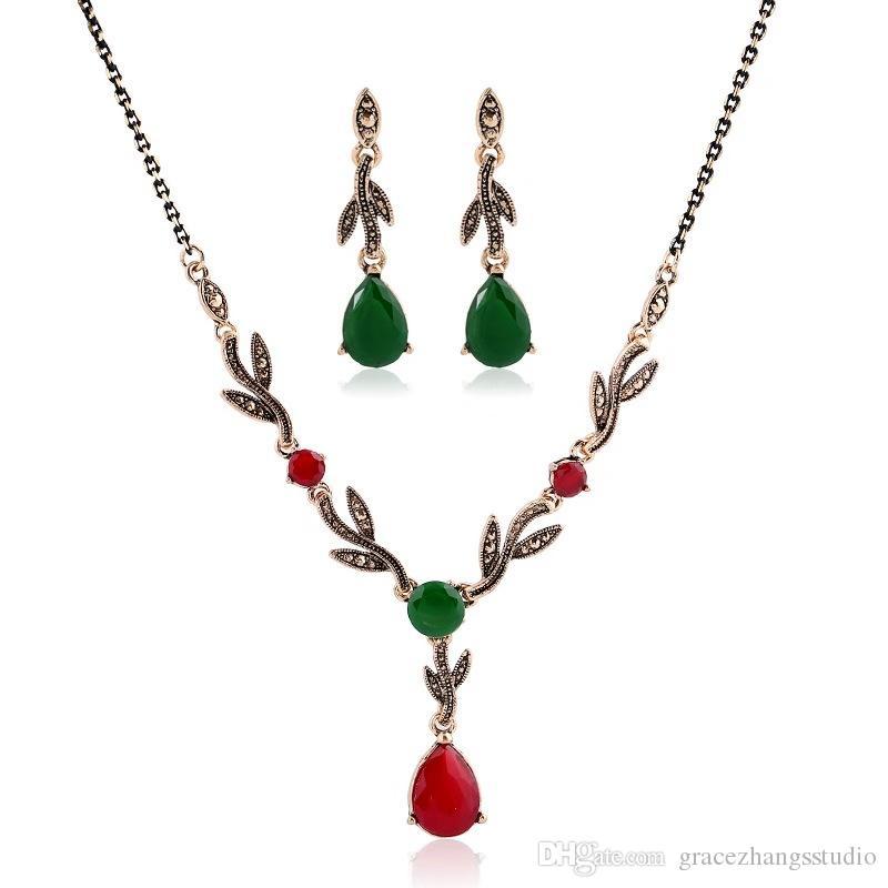 복고풍 워터 드롭 크리스탈 다이아몬드는 wome 리프 링크 체인 목걸이에 대 한 귀걸이 펜던트 목걸이 매달려 럭셔리 레드 녹색 보석 보석 세트