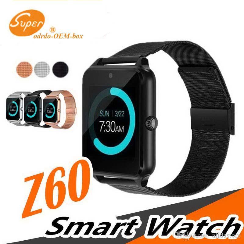 Мужские Bluetooth Смарт Часы-Телефон Z60 Нержавеющей Стали Поддержка SIM TF Карта Камеры Фитнес-Трекер GT08 GT09 DZ09 V8 SmartWatch для IOS Android