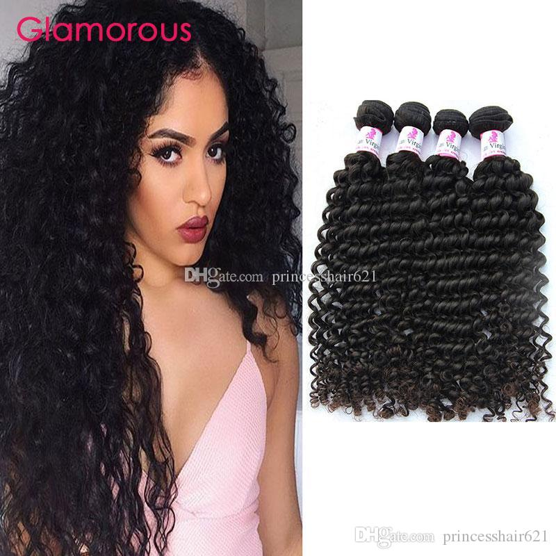 Glamorous Virgem Brasileira Tece Cutícula Cutícula Remy Cabelo Humano Onda Deep Onda Peruana Peruana Indian Malaysian Hair 4 Pacotes