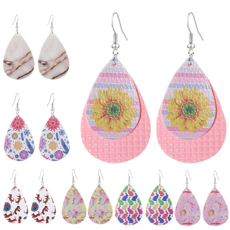 Lightweight PU Leather Water Drop Earrings For Women Simple Animal Sunflower Cupid Printed Earring For Girls Jewelry Accessory