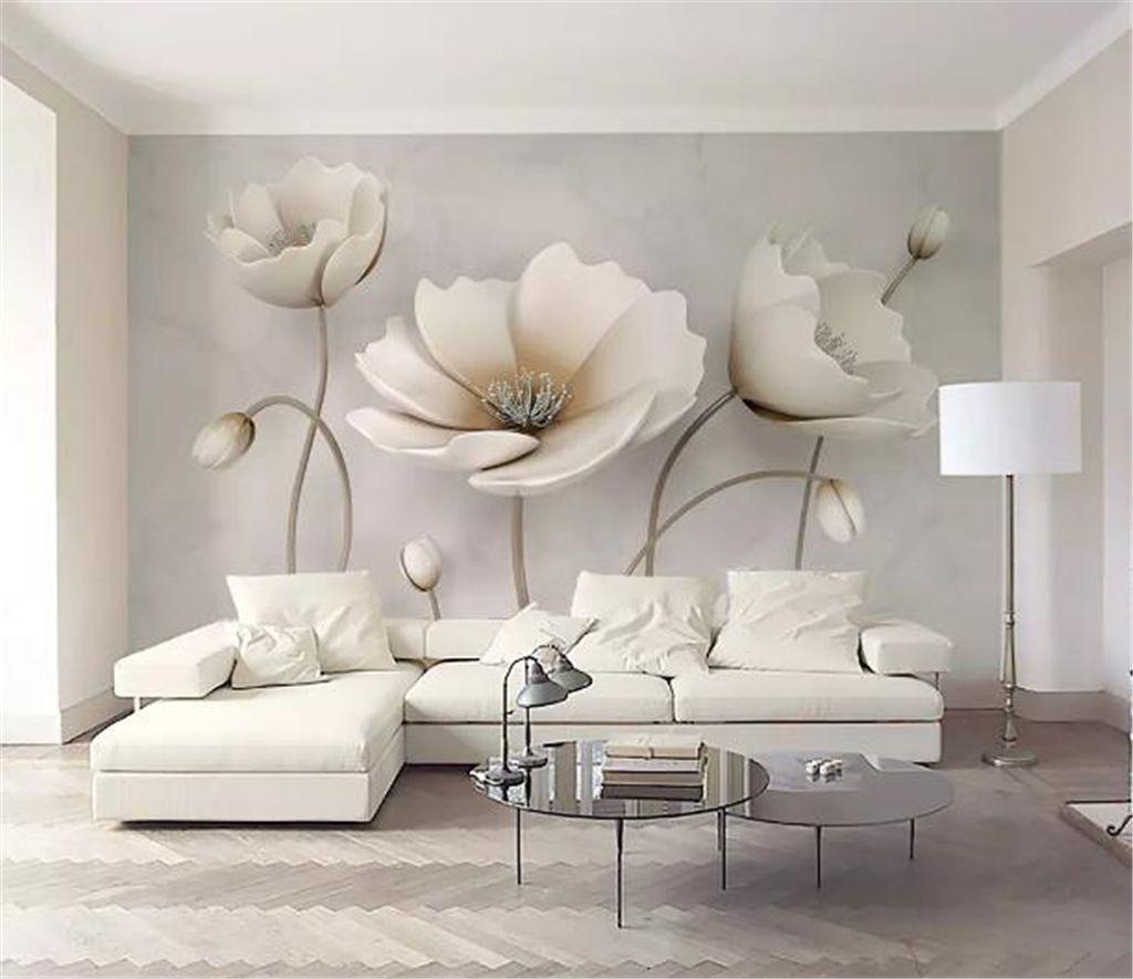 Özel Herhangi Boyutu 3D Duvar Kağıdı 3d İskandinav Zarif Çiçek Mermer Doku Ev Dekor Oturma Odası Duvar Kaplaması
