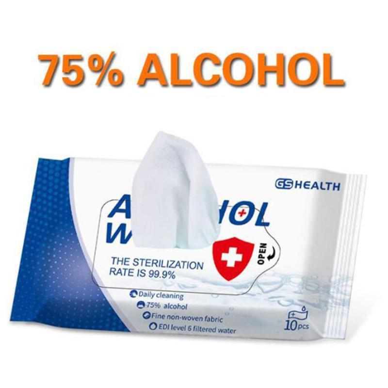 EN STOCK desinfección toallitas desinfectantes Dipe toallitas con alcohol 75% Rbbing Mano desinfección envuelta individualmente Primera desinfectante Ayuda