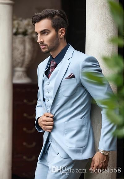 Bonito Um Botão Groomsmen Notch Lapela Do Noivo Smoking Ternos Dos Homens de Casamento / Baile / Jantar Melhor Homem Blazer (Jacket + Pants + Tie + Vest) A239