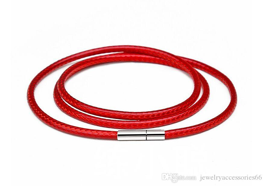 Горячая Простое Ожерелье шнур шнур веревка цепочка с поворотной пряжкой для DIY ожерелье браслет Красный цвет ювелирных изделий найти