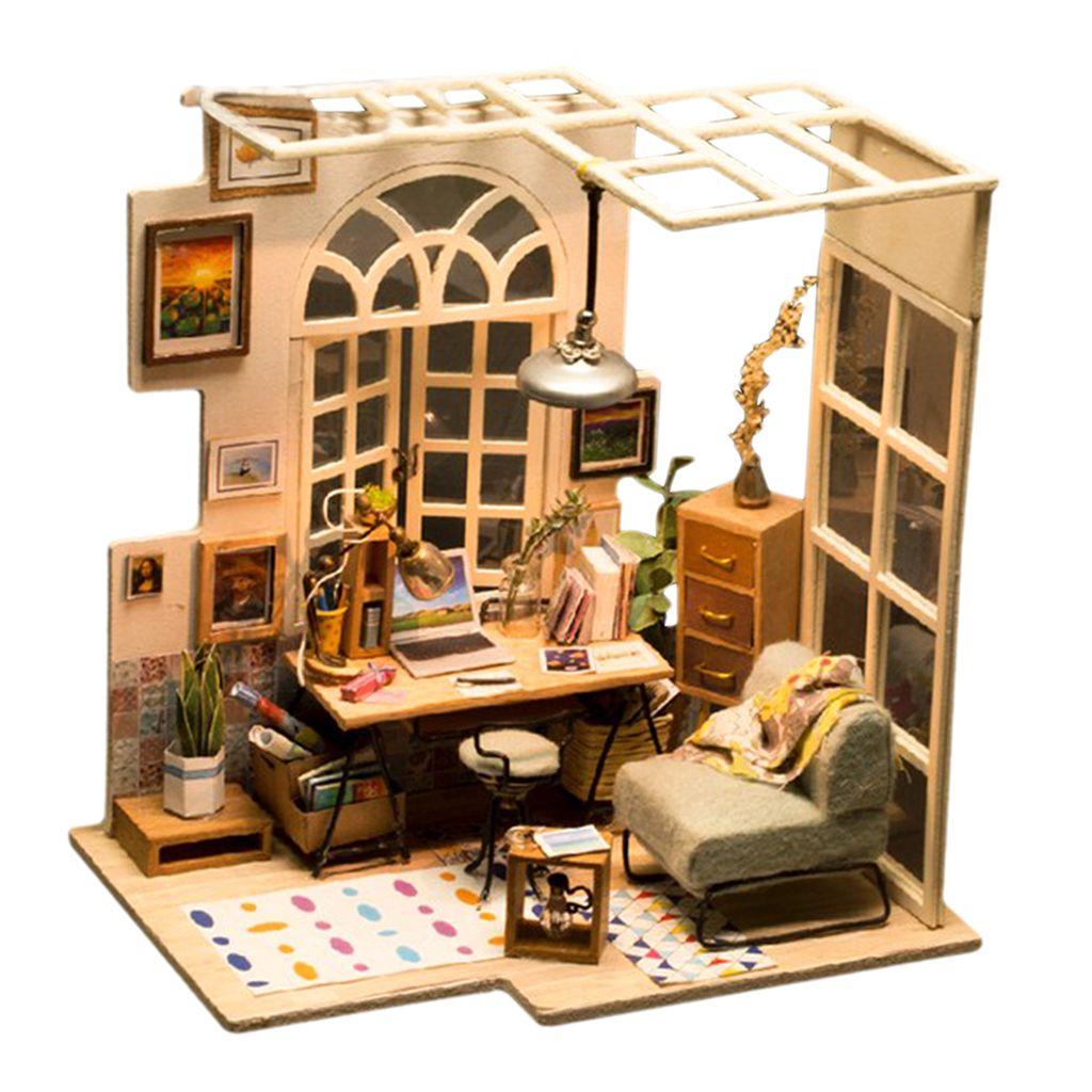 1:24 Kit de casa de muñecas en miniatura Librería de bricolaje Kits de casa de lectura Los mejores regalos de cumpleaños para adolescentes juguetes educativos