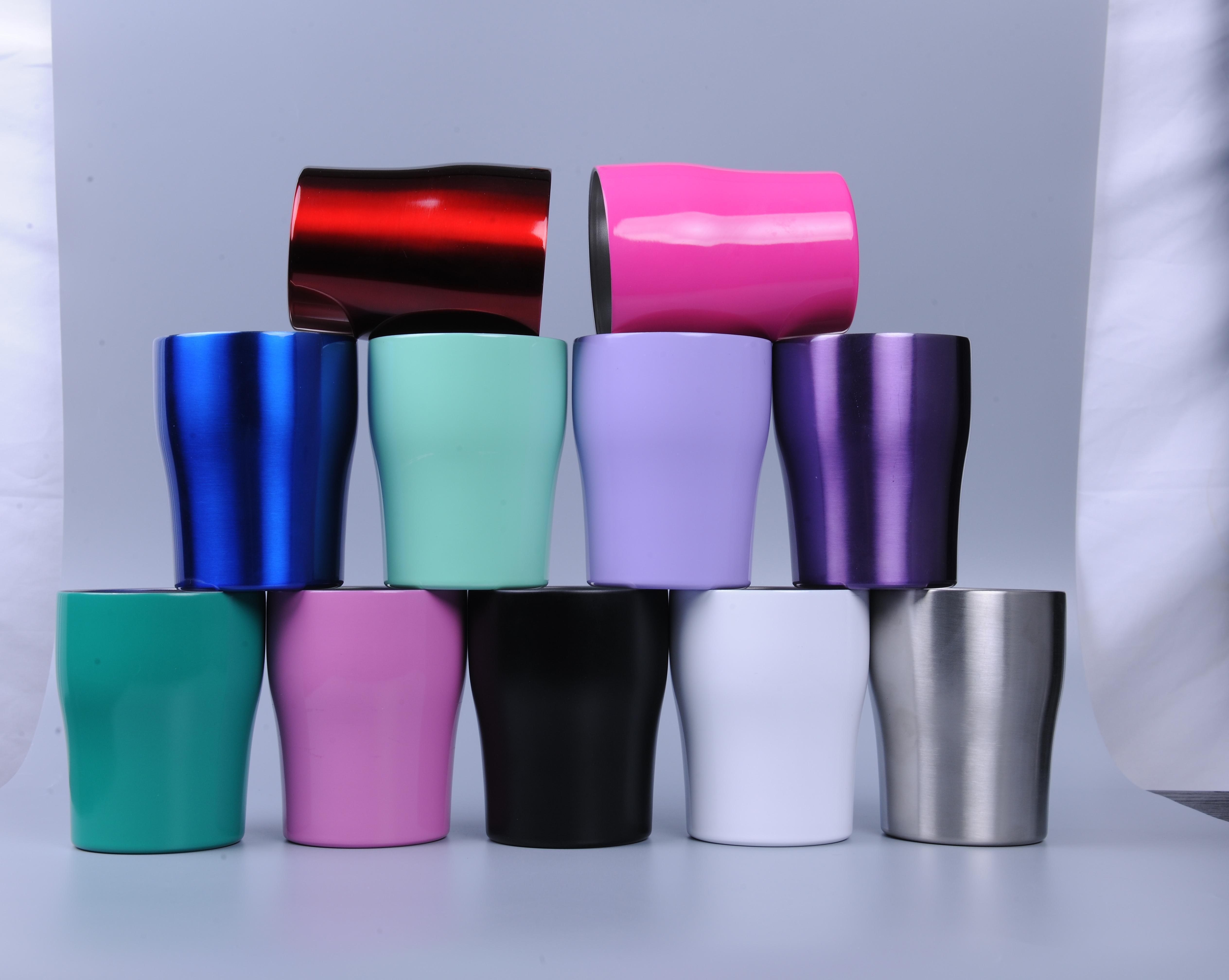 NUOVI 10 once bambini bicchieri 10oz acciaio inossidabile curvato Coppa con coperchio Mini coppa per tazza bambini hanno isolato