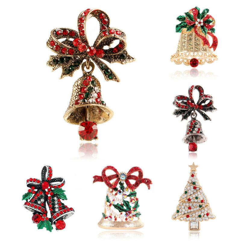 2020 Fashion Trend Luxury New Christmas Rhinestone Tree Bell Brooches Pin Women Crystal Shiny Party Unique Sweet Wear Xmas Gift