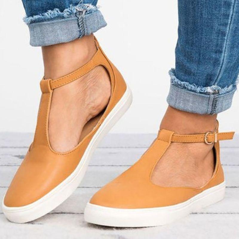 Summer Sandals Gold Women Flat Closed