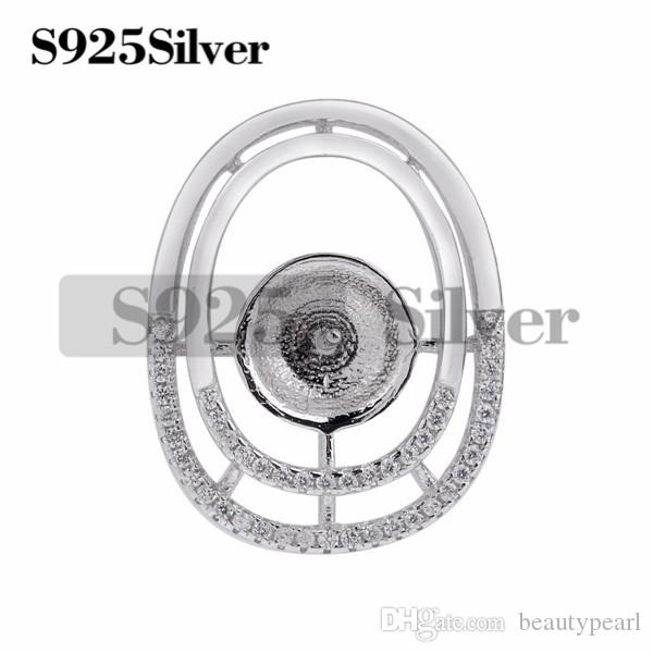 Pearl Accessories Double Oval Zircon 925 Sterling Silver Pendant Findings for Big Pearl Mounts 5 Pieces