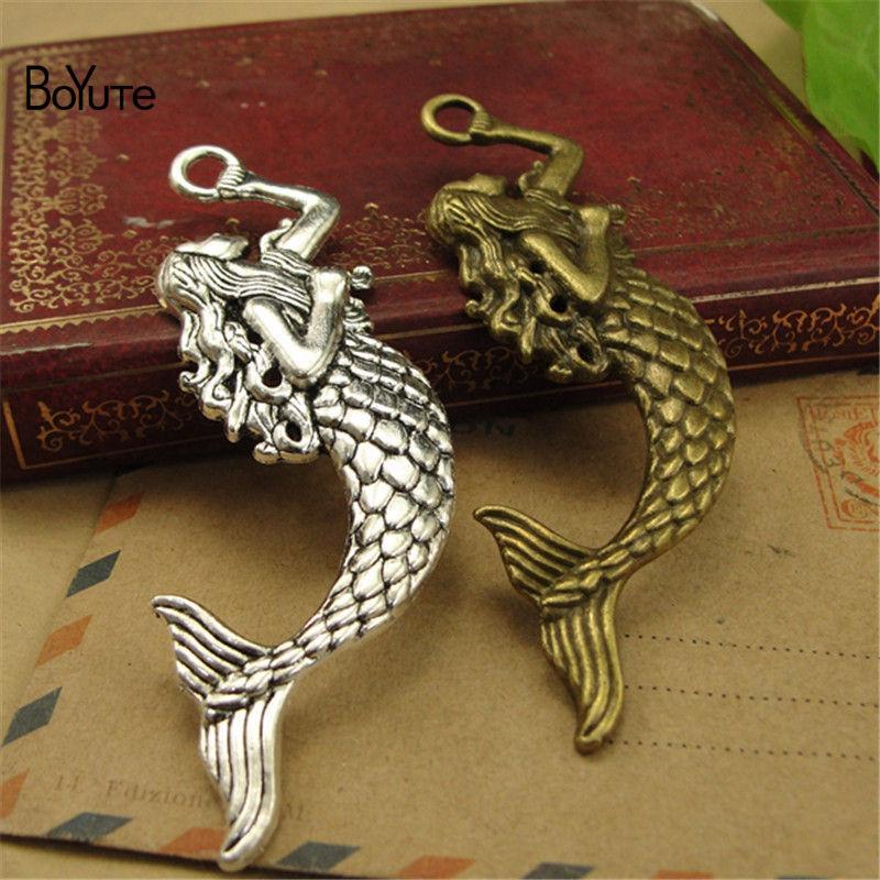 vendita all'ingrosso (30 pezzi / lottp) bronzo antico argento fascini del pendente della sirena fai-da-te accessori gioielli fatti a mano