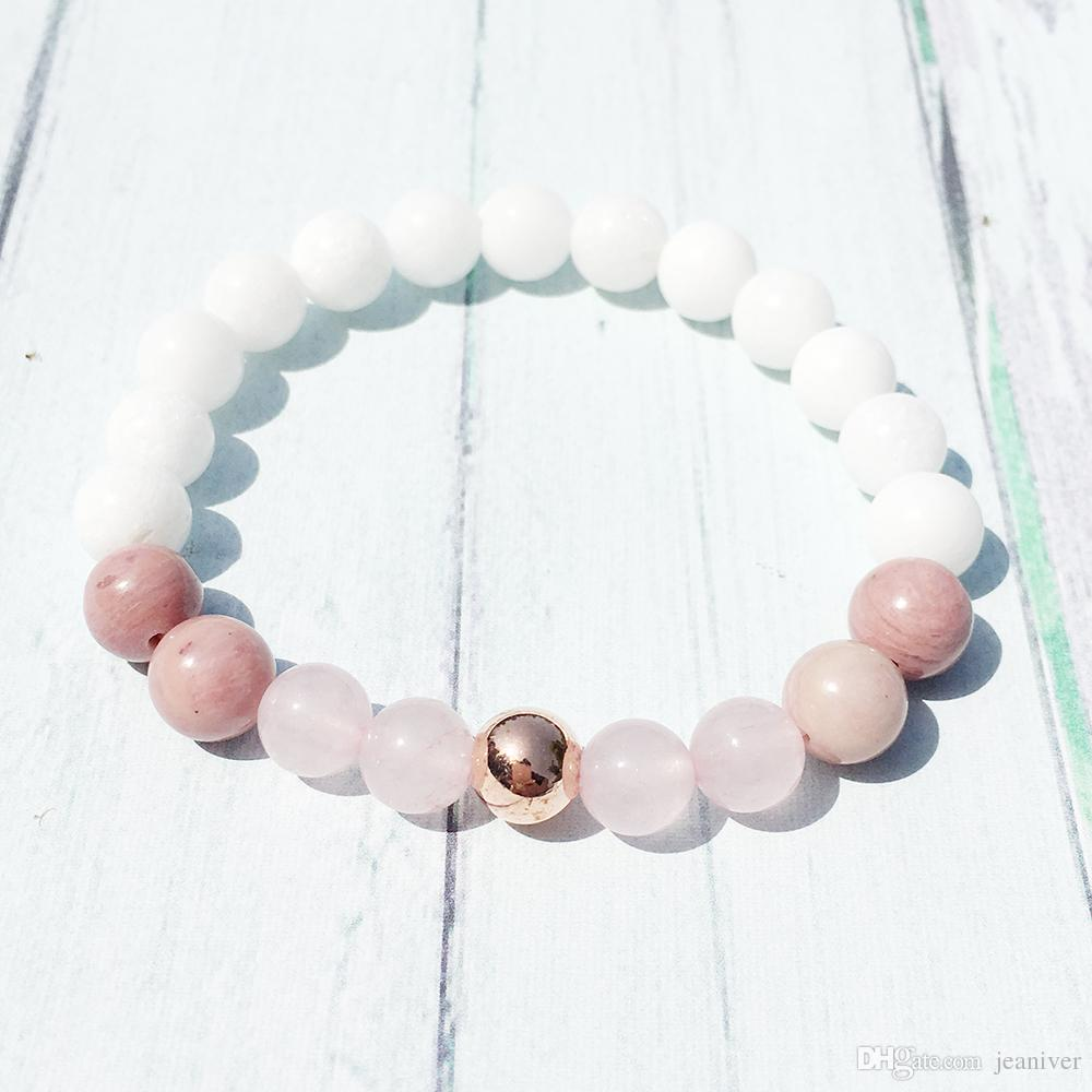 Jeaniver design de mode Déesse de la fertilité Bracelet Women` Amour Divin Bracelet Spiritual Shell Perle Rose Quarz Rhodonite Bracelet