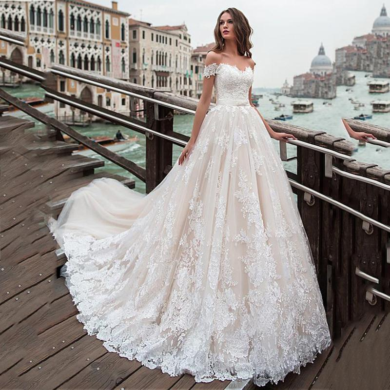 Fantastic Lace A Line Wedding Dresses Off The Shoulder Lace Appliques Princess Boho Wedding Gowns Lace Up Plus Size Chic Back Bridal Gown