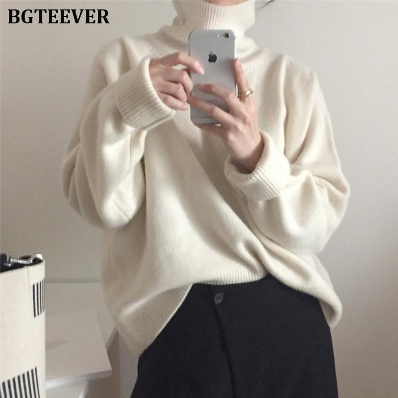 BGTEEVER Casual Thick Autumn Winter Turtleneck Oversize Sweater Pullover Women Warm Chic Loose Female Knitted Sweaters 2019