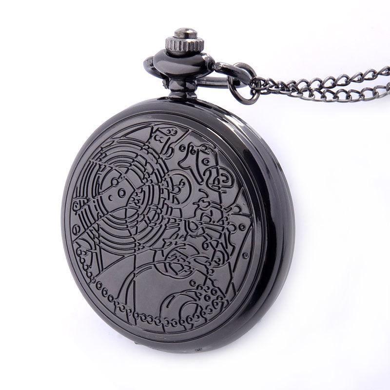 Couleur Argent Bronze Noir Disponible Quartz pleine Gravé Fob Rétro Pendentif Montre de poche cadeau de la chaîne