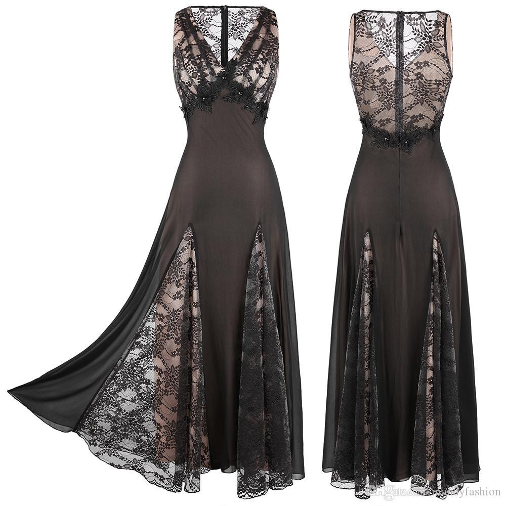 Engel-Mode Frauen mit Perlen verziert tiefen V-Ausschnitt Floral Illusion Spitze Reich A-Linie Ballkleid Chiffon Abendkleid Schwarz 460