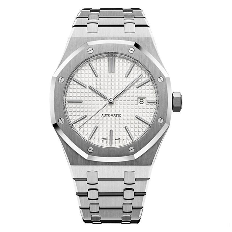 Brand new mens luxo automática estilo clássico 41 milímetros cheio de alta qualidade pulseira de aço inoxidável relógios mecânicos Orologio meccanico wristwatche