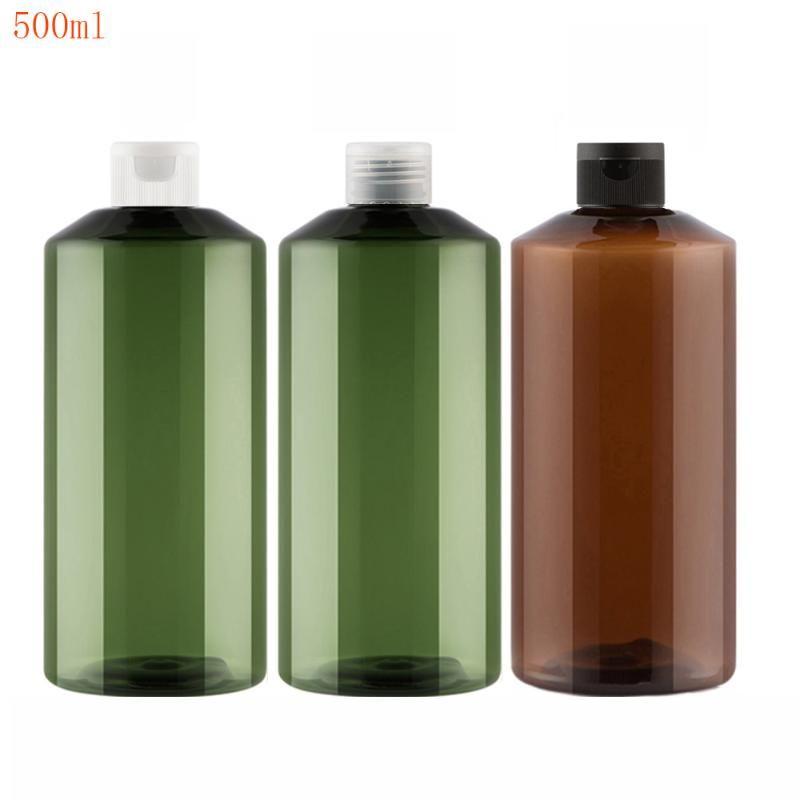 20шт 500 мл шампунь пластиковые бутылки путешествия с откидной верхней крышкой, многоразовое путешествием шампунь упаковки ПЭТ-коричневыми зелеными бутылками