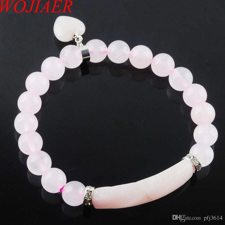 WOJIAER Pierre naturelle perles Rose Quartz Strand Bracelets Bangles Coeur couleur argent Bijoux Femmes Fitting Amour Cadeaux DK3341