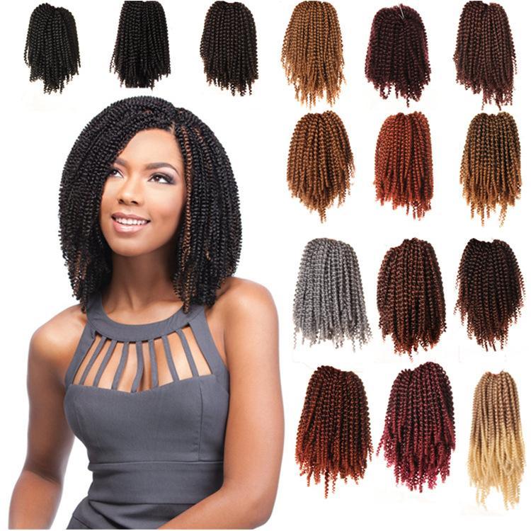 Fluffy Spring Curl Twist Hair Extensions Black Brown Burgundy Beyond Beauty Ombre Crochet Braids Kanekalon Synthetic Braiding Hair