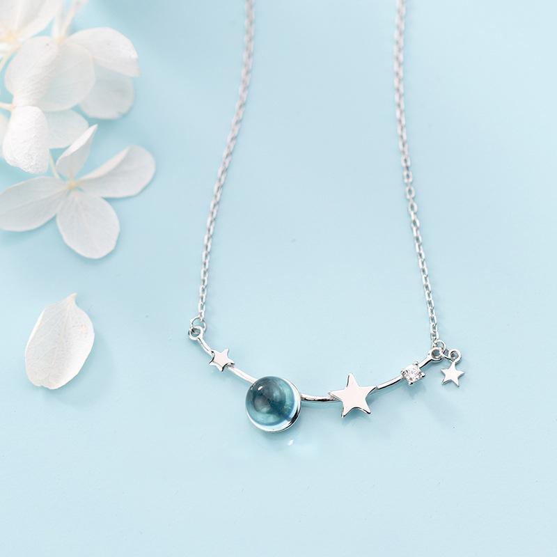 Coleção Espaço MloveAcc 925 Sterling Silver Geometria Colar Pingente Estrelas Charme com Blue Crystal Sterling Silver Jewelry