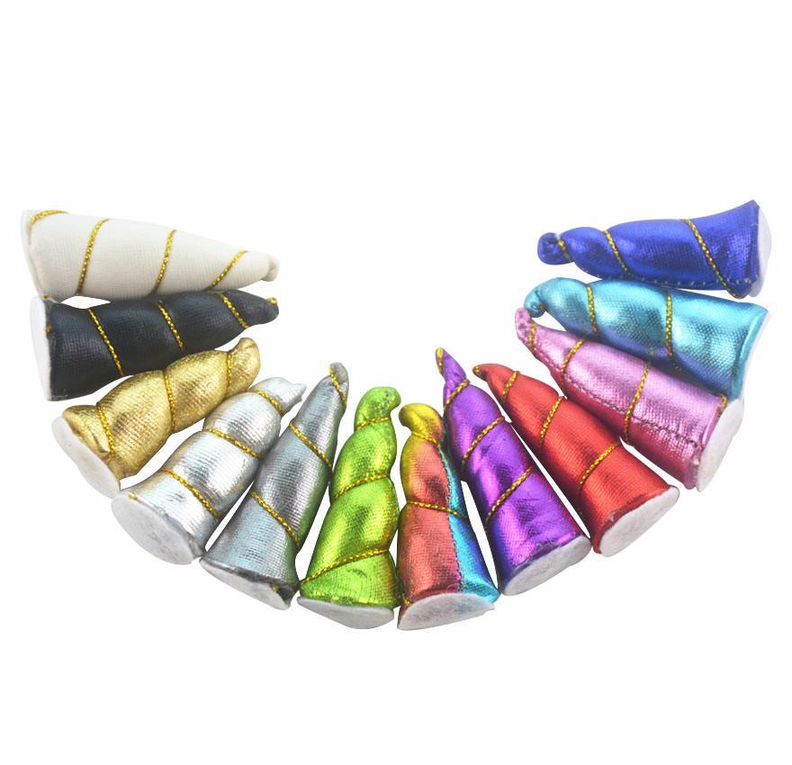 헤어 액세서리 DIY의 파티 유니콘 (12) 색상을 만들기 50PCS / 부지 5cm 미니 유니콘 뿔 머리띠 여자 아이 펠트 패딩 유니콘 뿔 머리띠