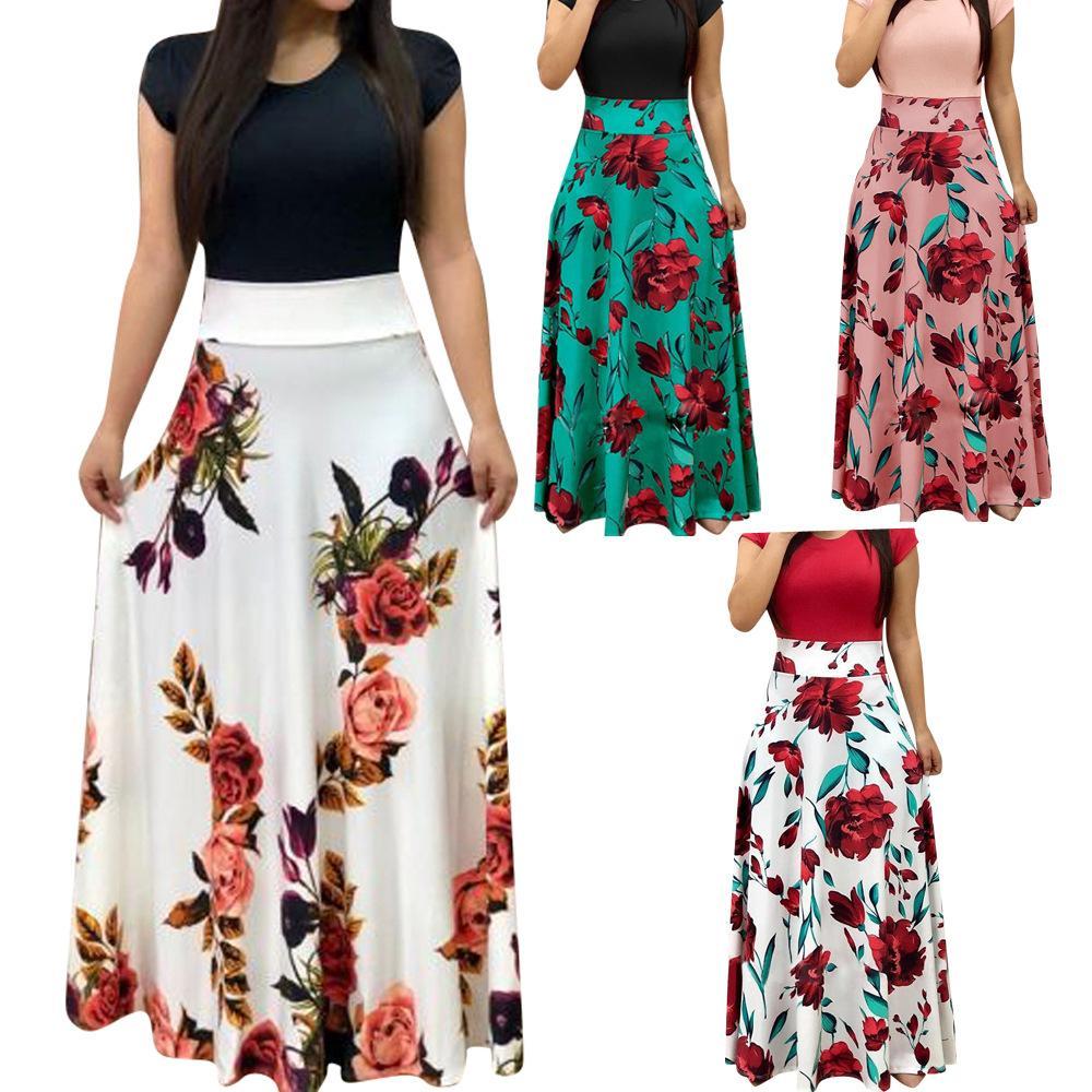 Las nuevas mujeres visten las mangas cortas o el remiendo del cuello Vestidos de las mujeres Vestidos florales impresos drapeados Vestido largo largo femenino Vestido informal