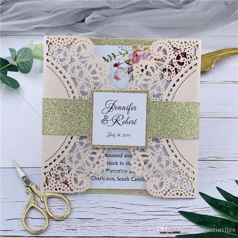 Kits de Cartão de Convites De Casamento De Corte A Laser rosa com Envelopes Do Presente Do Vintage Cartões de Casamento Fontes Do Partido Do Chuveiro De Noiva