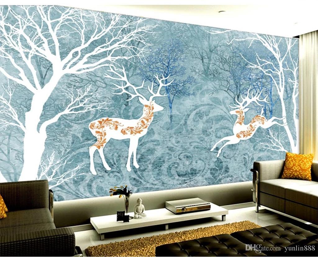 2019 Özel Fotoğraf 3d duvar kağıdı Özet Orman Geyik Klasik Salon Yatak odası Arkaplan Duvar Dekorasyon Duvar Duvar kağıdı