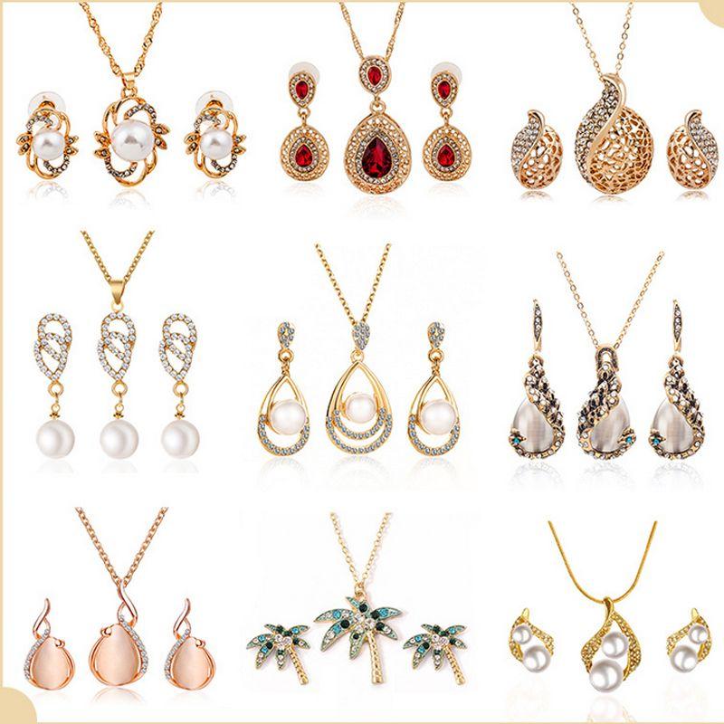 20 Art-Frauen Rhinestone-Perlen-Anhänger-Halskette Ohrring-gesetzte Hochzeit Brautschmuck Geschenk für Liebe Freundin