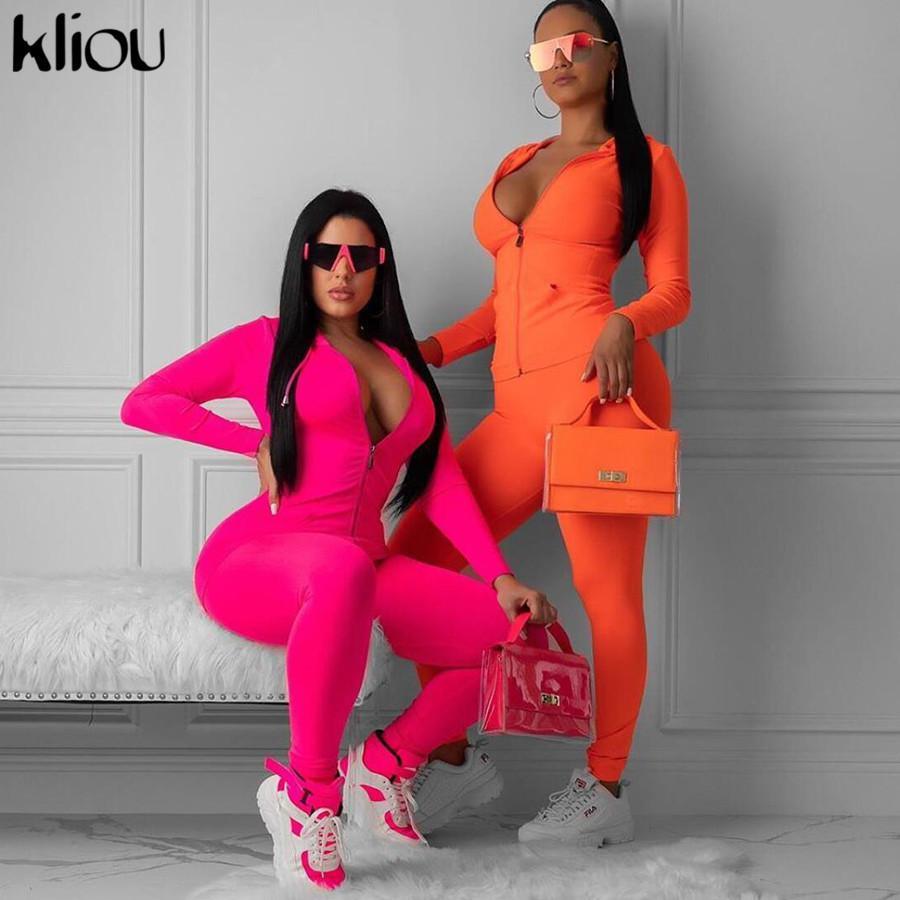 Kliou неоновый розовый оранжевый две части набор женщин фитнес спортивной 2019 осень длинный рукав тощий топы эластичные леггинсы костюм T200519