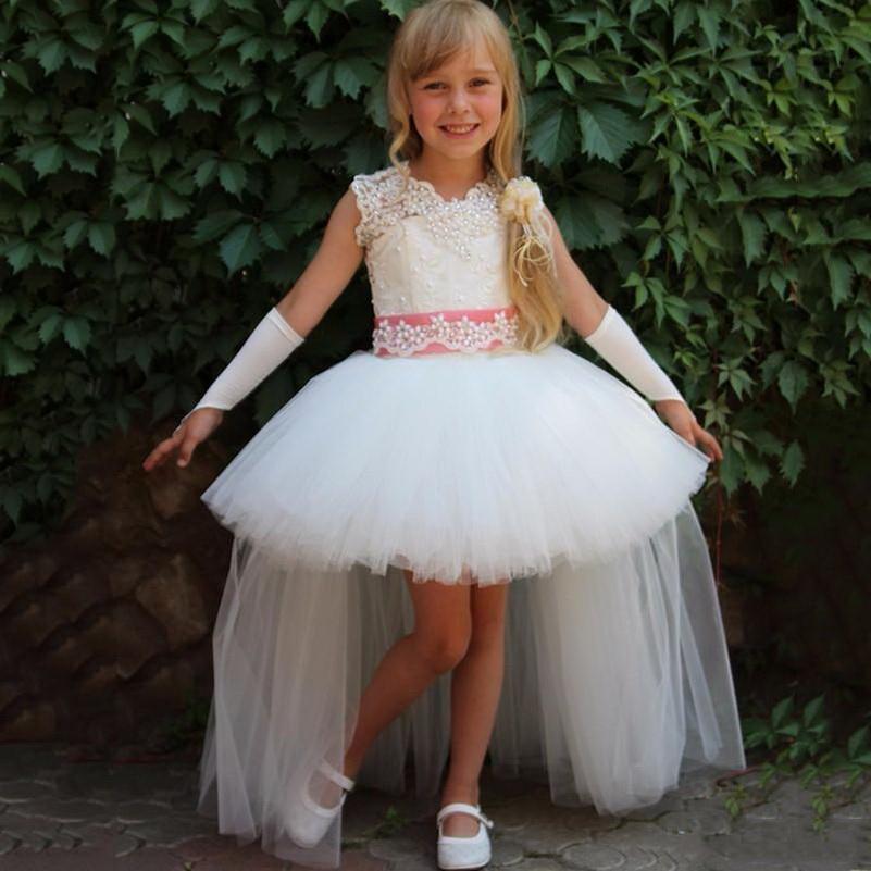 2020 кружевные бальные платья Платья цветочницы с пышной юбкой из тюля без рукавов для свадьбы дешево из Китая