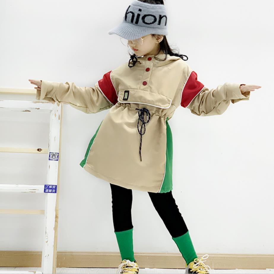 Niñas trinchera abrigos otoño del resorte del nuevo color del remiendo golpe cordón abrigos Outerwear para la ropa de los niños