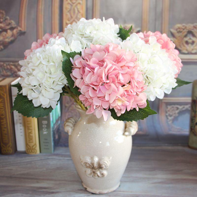 Französisch Hydrangea Bouquet Künstliche Seide Pfingstrose Blumen Pflanzen Hochzeit Dekoration Anordnung Raum Hydrangea DIY Blumen Großhandel