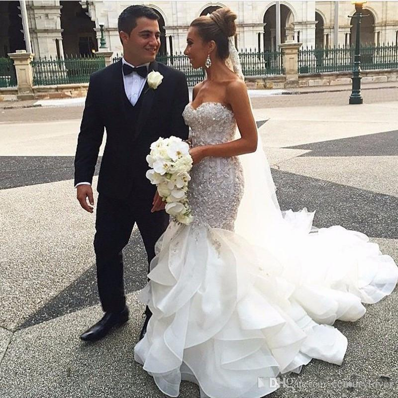 New Sexy Mermaid Wedding Dresses Sweetheart Lace Appliques Sliver Beaded Crystal Tiered Ruffles Organza Court Train Plus Size Bridal Gowns