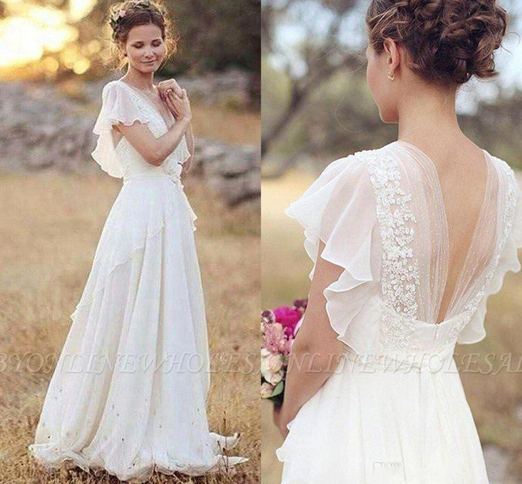Discountbohemian Hippie Style Wedding Dresses 2020 Beach A Line Wedding Dress Bridal Gowns Backless White Lace Chiffon Boho Bm0864 From Promotionspace 88 33 Dhgate Com