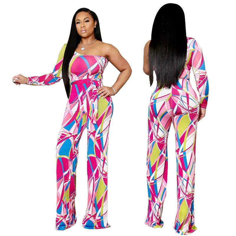 Summer Womens Bodycon Jumpsuit Shorts Beach Holiday Playsuit Women's Painted Print Off-shoulder Single-sleeve Jumpsuit