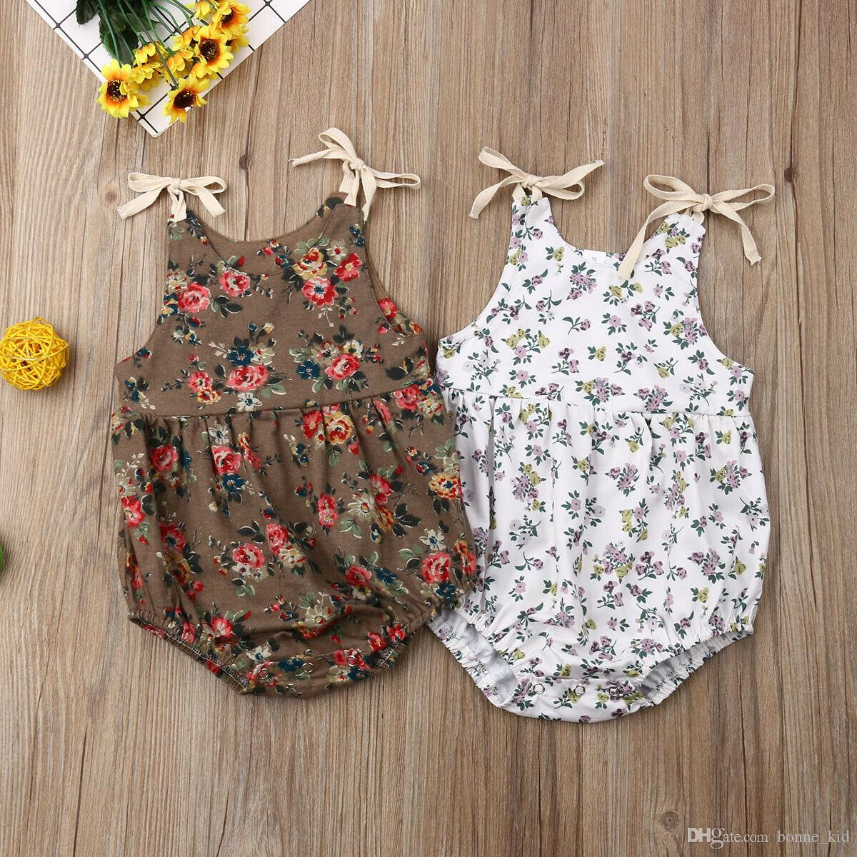 Chinaware Baby Girl Sleeveless Sweet Floral Jumpers Rompers Bodysuit Playsuit Outfits